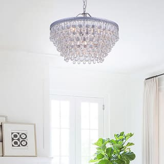 Silver Orchid Crystal 6 Light Chandelier With Clear Teardrop Beads