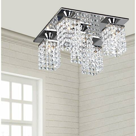 Silver Orchid Tracy 5-light Crystal Square Flush Mount Chandelier