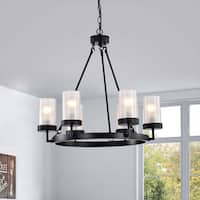 The Gray Barn Otis 6-light Black Linear Glass Globe Chandelier