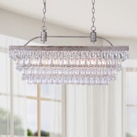 Silver Orchid Taylor Antique Silver 6-light Rectangular Glass Droplets Chandelier