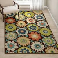 Carolina Weavers Indoor/Outdoor Santa Barbara Collection Corsage Multi Area Rug (5'2 x 7'6) - 5'2 x 7'6