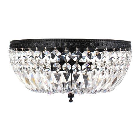 Silver Orchid Taylor 3-light Crystal Basket Flush Mount Chandelier - N/A