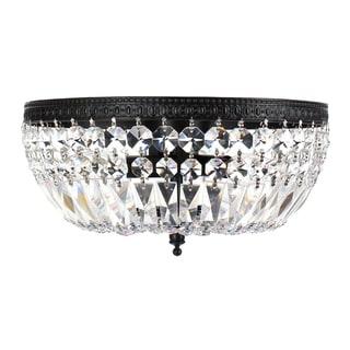 Silver Orchid Taylor 3-light Crystal Basket Flush Mount Chandelier
