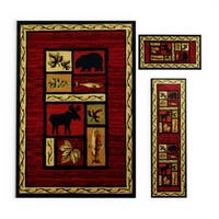 Pine Canopy Gallatin Red/ Black Animal Southwestern 3-piece Area Rug Set - 5'1 x 7'6