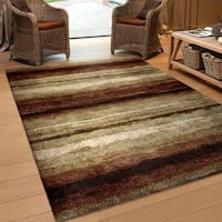 Carolina Weavers Riveting Shag Collection Dirt Road Red Shag Area Rug (5'3 x 7'6) - 5'3 x 7'6