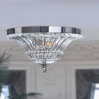 Silver Orchid Bergman 2-Light Glass Ceiling Light with Glacier Petal Flushmount