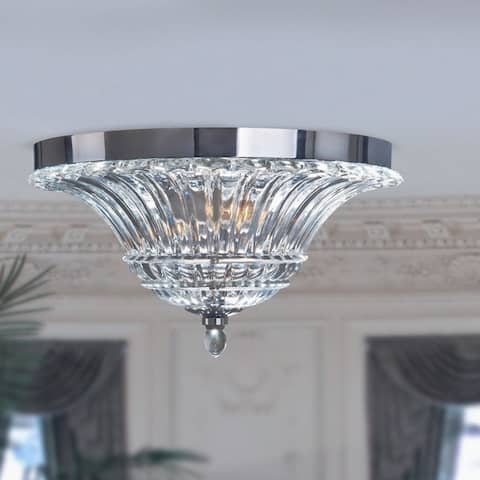 Silver Orchid Bergman Glam 2-light Clear Glass Chrome Ceiling Light