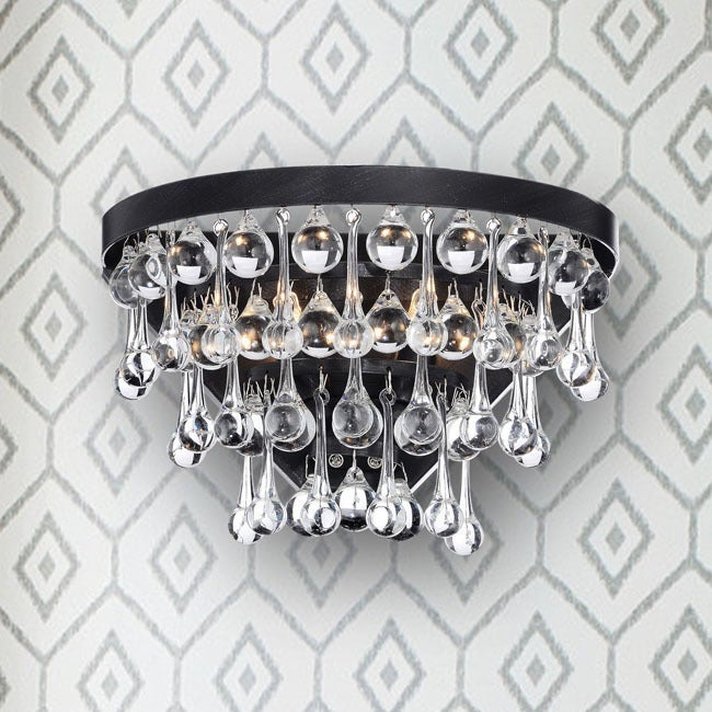 Silver Orchid Taylor Antique Black 2 Light Crystal Wall Sconce