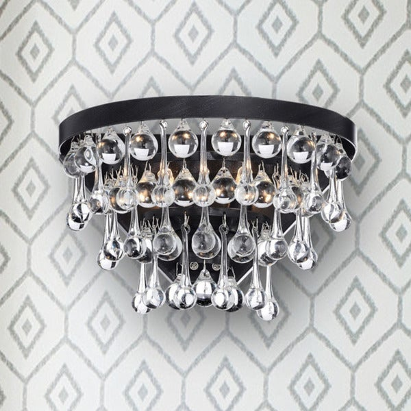 Silver Orchid Taylor 2-light Antique Black Crystal Wall Sconce