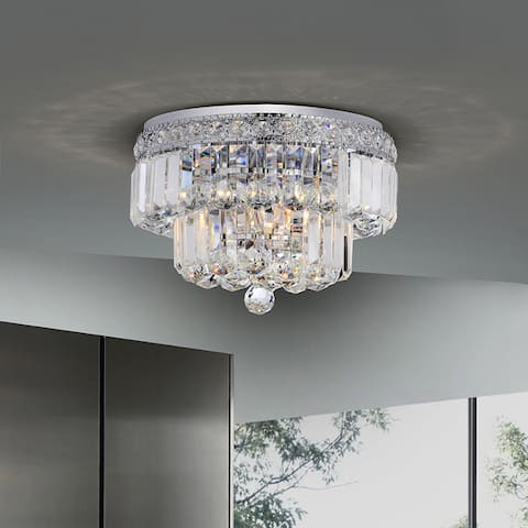 Silver Orchid Taylor Chrome Finish Two Tier Crystals Flush Mount Chandelier
