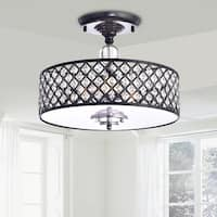Silver Orchid Taylor Antique Black Crystal 3-light Flush Mount Chandelier