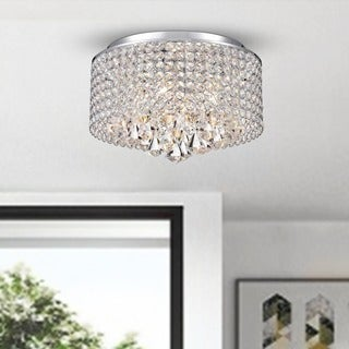 Silver Orchid Taylor 4-light Chrome and Crystal Drum Shade Flush Mount Chandelier