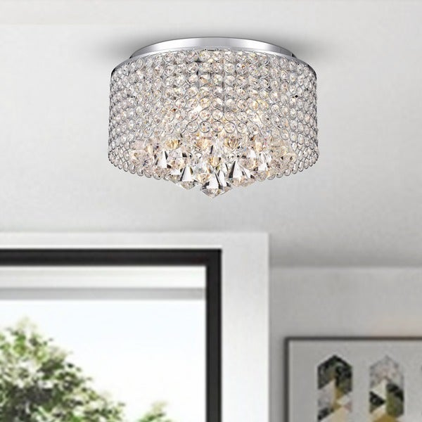 Nerisa 4 Light Chrome And Crystal Drum Shade Flush Mount Chandelier