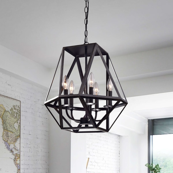 The Gray Barn Otis 5-light Modern Antique Black Iron Chandelier. Opens flyout.