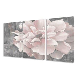Silver Orchid Novak Pastel Pink Peony on Grey 3-piece Canvas Art Set