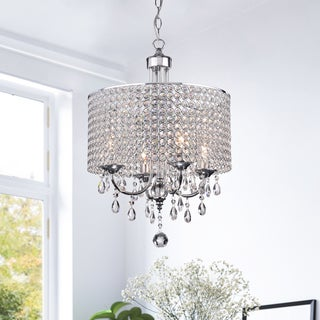 Silver Orchid Taylor 4-Light Chrome Finish Crystal Chandelier