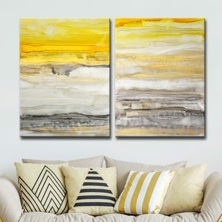 Pine Canopy Gunnison 2-piece Gallery-Wrapped Canvas Set - Grey/YELLOW