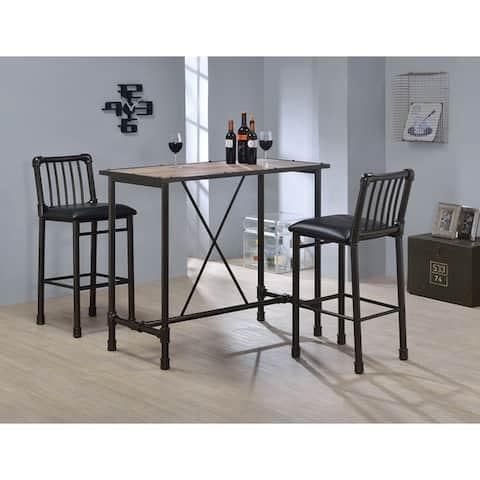 Carbon Loft Leona Rustic Oak and Metal Bar Table