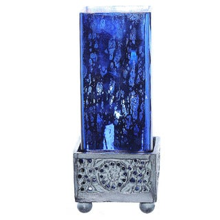 Pine Canopy Malheur Blue Mercury Glass and Metal Square Accent Lamp