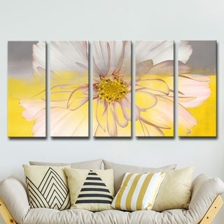 Silver Orchid Wayne 5-piece 'Painted Petals XXXIV' Canvas Art Set - YELLOW