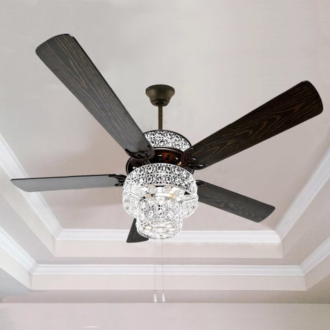 "Silver Orchid March Silver Punched Metal and Clear Crystal Ceiling Fan - 52""L x 52""W x 21""H"