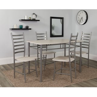 Verona Slatted Back with White Seat 5-Piece Dining Set