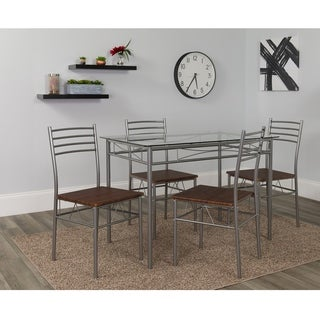 Chelsea Wooden Seat 5-Piece Dining Set with Glass Table Top
