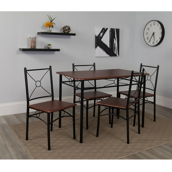 Exceptionnel Geneva Cross Back Dining Set With Mahogany Finish