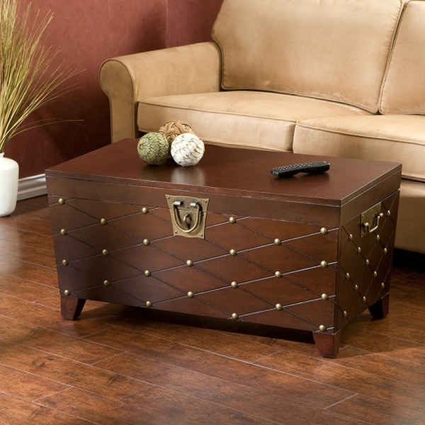 Clay Alder Home Hi-Line Nailhead Espresso Cocktail Table Trunk