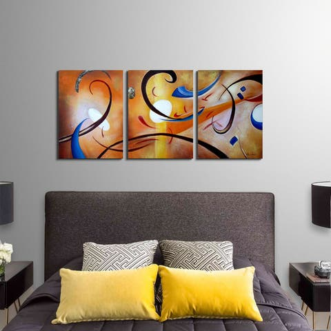 The Curated Nomad 'Happiness Abstract' Hand Painted Gallery Wrapped Canvas Art Set