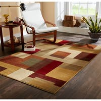 Clay Alder Home Percha Patchwork Block Brown and Deep Red Area Rug - Beige - 5' x 7'6