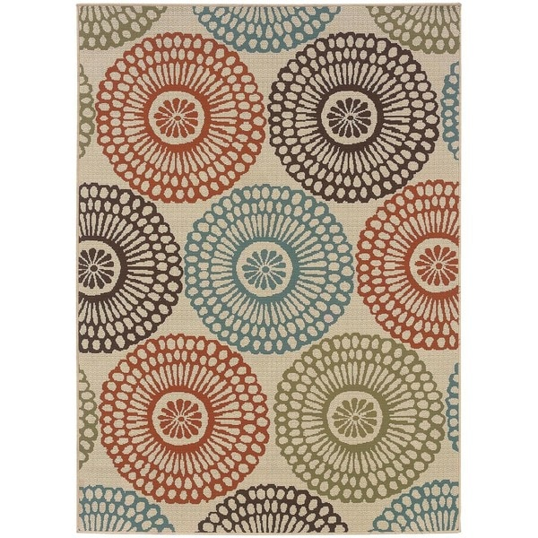 The Curated Nomad Wilson Floral Beige/Blue Indoor-Outdoor Area Rug - 6'7x9'6