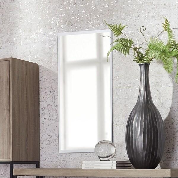 Porch & Den Steel Frameless Beveled Rectangular Mirror - Silver - A/N