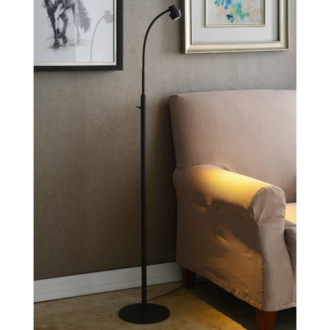 Porch & Den Patton Yukon Jett Bronze LED Adjustable Floor Lamp
