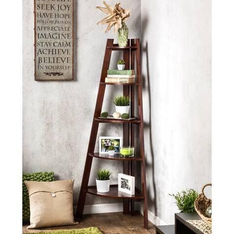 Furniture of America Kiki 5-tier Corner Ladder Display Bookcase