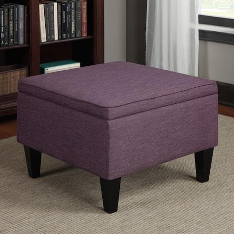 Porch & Den Pope Street Amethyst Purple Linen Table Storage Ottoman