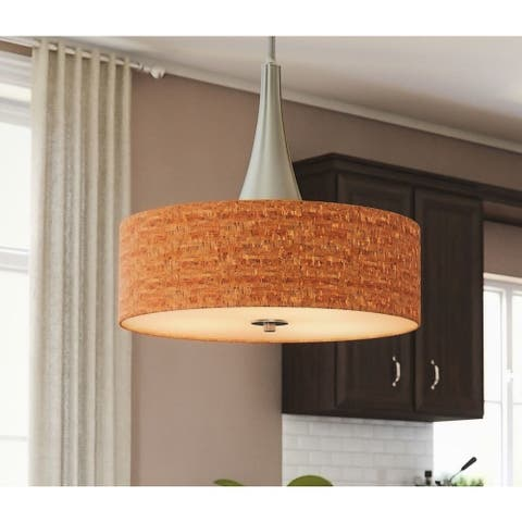 Strick & Bolton Laurindo 22-inch Brushed Nickel/ Cork Pendant