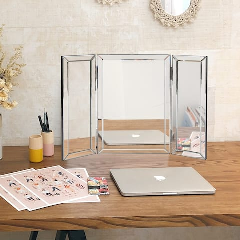 Copper Grove Bromley Trifold Vanity Mirror - Silver