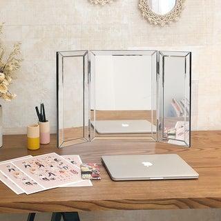 Clay Alder Home Steel Trifold Vanity Mirror