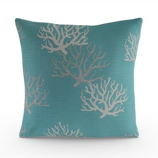 Copper Grove Aquilegia Coastal Blue Feather Filled 18-inch Throw Pillow