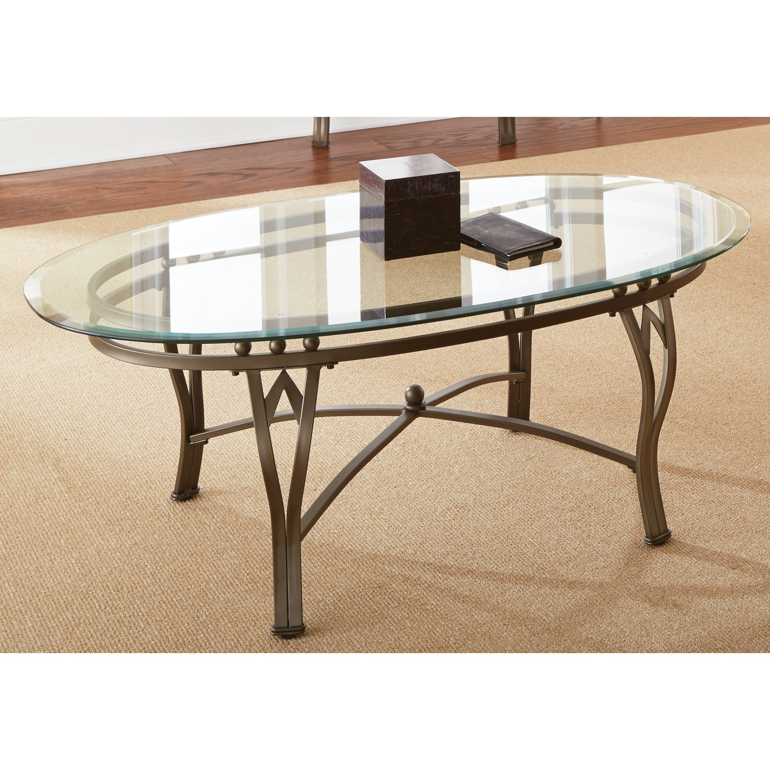 Picture of: Copper Grove Woodend Glass Top Oval Coffee Table Overstock 20254806