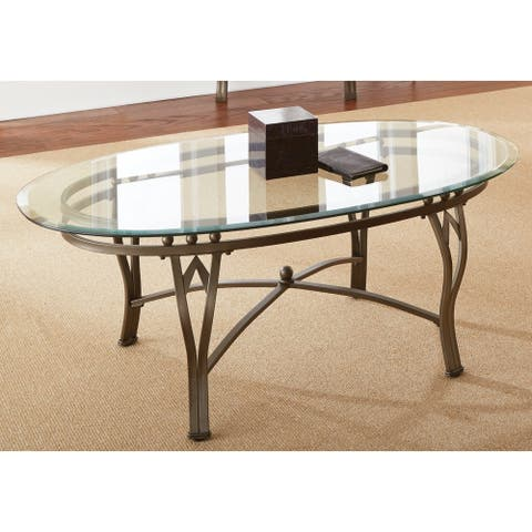 Copper Grove Woodend Glass-top Oval Coffee Table