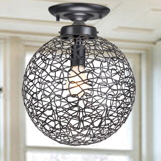 Clay Alder Home Jericho Antique Black Flush Mount Chandelier with Iron and Handicraft Shade