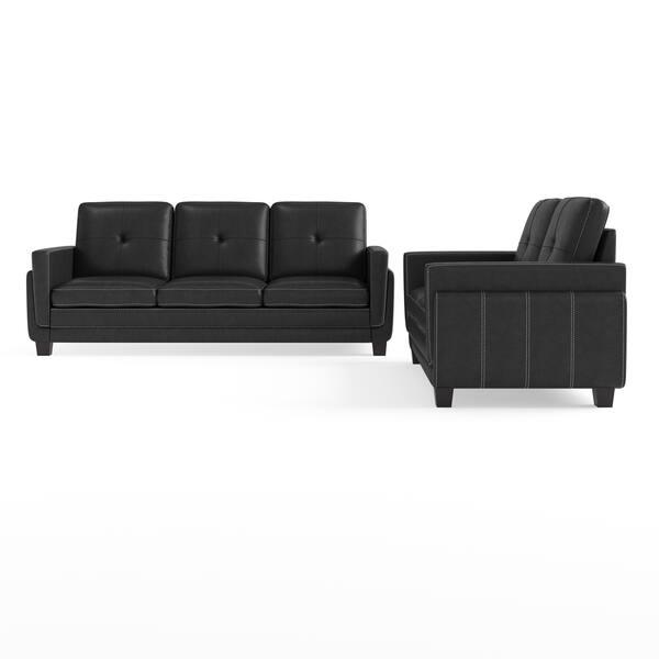 Pleasant Shop Porch Den Newcastle 2 Piece Tufted Black Leatherette Gamerscity Chair Design For Home Gamerscityorg