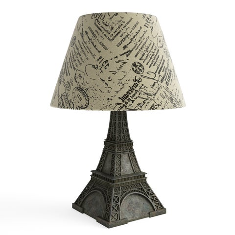 Silver Orchid Arthur Paris Eiffel Tower Lamp and Printed Shade