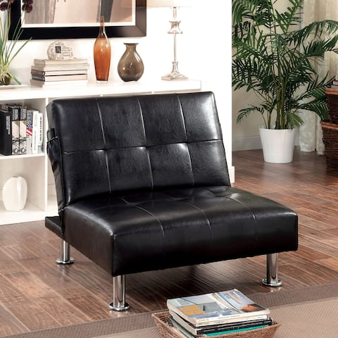 Furniture of America Modern Tufted Convertible Chair with Storage Pockets