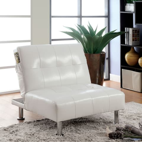 Furniture of America Oray Modern Tufted Convertible Chair with Storage Pockets