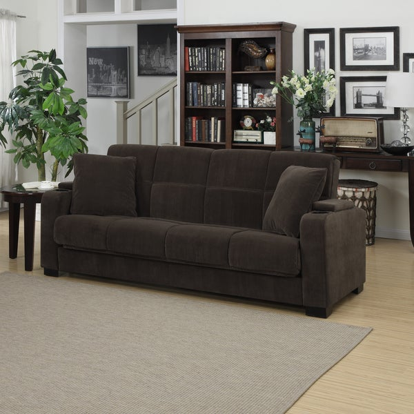 Clay Alder Home Klingle Chocolate Brown Velvet Convert A Couch Storage Arm Futon Sofa Click To Zoom