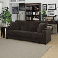Clay Alder Home Klingle Chocolate Brown Velvet Convert-a-Couch Storage Arm Futon Sofa Sleeper