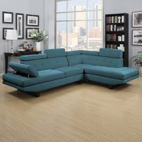 Clay Alder Home Pope Street Caribbean Blue Linen 2-piece Sectional